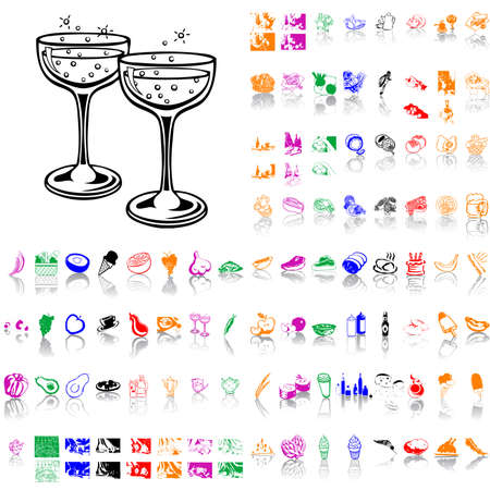 Food clipart. Part 2. Isolated groups and layers. Global colors.