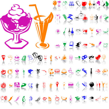 Food clipart. Part 4. Isolated groups and layers. Global colors.