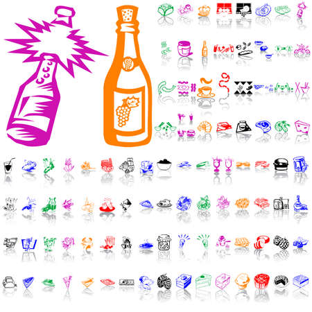 Food clipart. Part 6. Isolated groups and layers. Global colors.