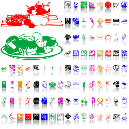 Food clipart. Part 8. Isolated groups and layers. Global colors.   Vector
