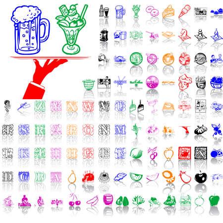 Essen Cliparts. Teil 10. Isolierte Gruppen und Schichten. Global Farben. Lizenzfreie Bilder - 5090152