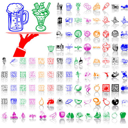 Food clipart. Part 10. Isolated groups and layers. Global colors.