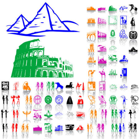 Ancient and Egypt. Part 2. Isolated groups and layers. Global colors.   Vector