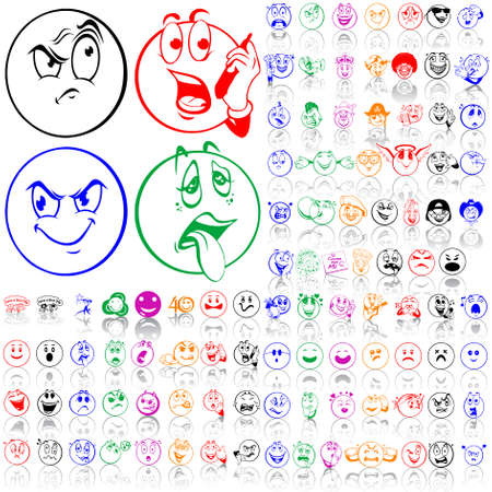 sneering: Set of smilies. Part 1. Isolated groups and layers. Global colors.   Illustration
