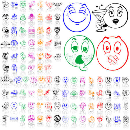 Set of smilies. Part 2. Isolated groups and layers. Global colors.   Vector
