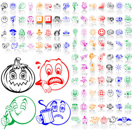 Set of smilies. Part 3. Isolated groups and layers. Global colors.   Vector