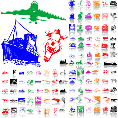 Set of transport. Part 1. Isolated groups and layers. Global colors.   Vector