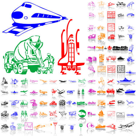 Set of transport. Part 2. Isolated groups and layers. Global colors.   Vector