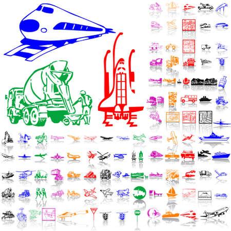 old tractor: Transport set. Deel 2. Geïsoleerde groepen en lagen. Algemene kleuren.  Stock Illustratie