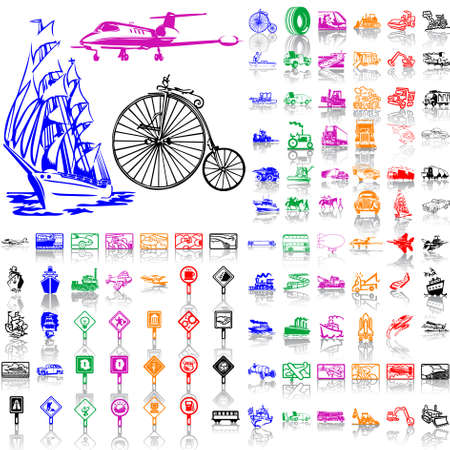 Set of transport. Part 3. Isolated groups and layers. Global colors.   Vector