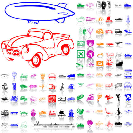 Set of transport. Part 4. Isolated groups and layers. Global colors.   Vector