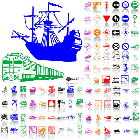 Set of transport. Part 5. Isolated groups and layers. Global colors.   Vector