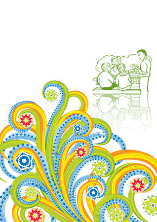Family picnic in abstract collage. Vector illustration. Isolated groups and layers. Global colors.