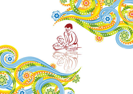 The boy to study in abstract collage. Vector illustration. Isolated groups and layers. Global colors.   Vector