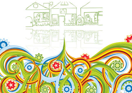 Street from houses with families in abstract collage. Vector illustration. Isolated groups and layers. Global colors.