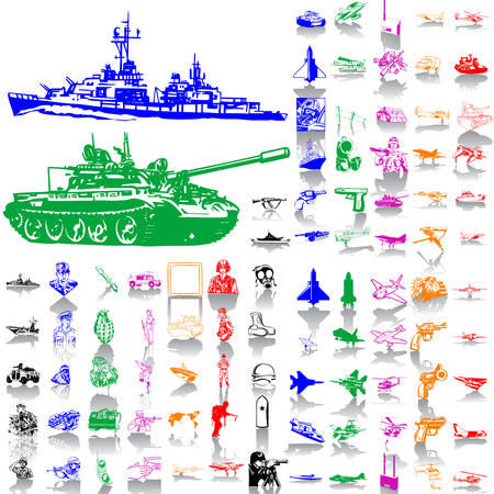military silhouettes: Army set. Part 1. Isolated groups and layers. Global colors.   Illustration