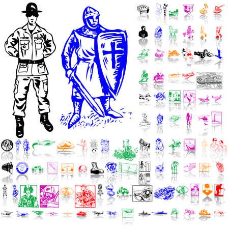rycerze: Zestaw armii. Część 2. Odizolowane grup i warstw. Kolory globalne.  Ilustracja
