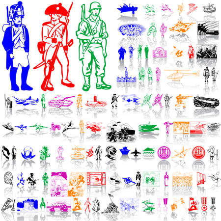 Army set. Part 3. Isolated groups and layers. Global colors.   Vector