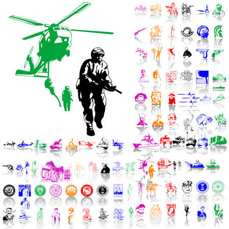 Army set. Part 7. Isolated groups and layers. Global colors.   Vector