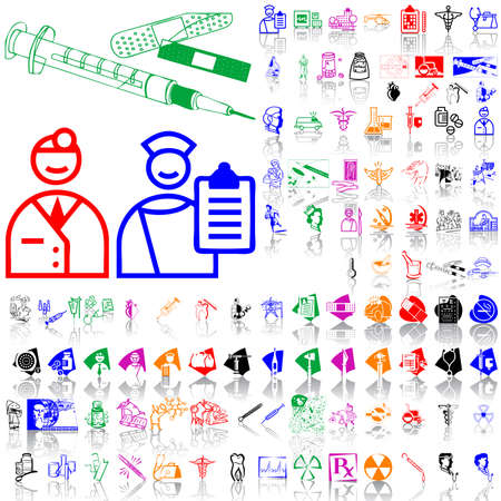 Set of medical sketches. Part 5. Isolated groups and layers. Global colors. Vector
