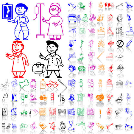 Set of medical sketches. Part 6. Isolated groups and layers. Global colors.   Illustration