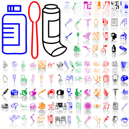 Set of medical sketches. Part 7. Isolated groups and layers. Global colors.   Stock Vector - 5141005