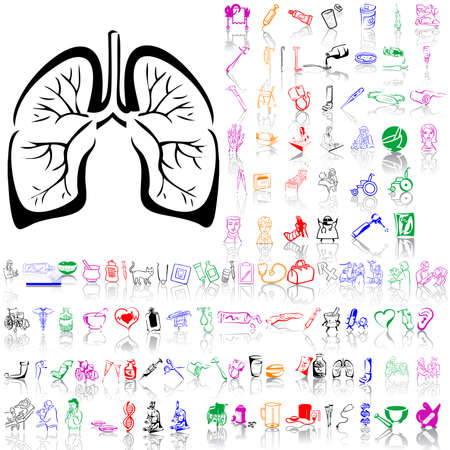 Set of medical sketches. Part 11. Isolated groups and layers. Global colors.   Vector