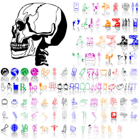 stethoscope boy: Set of medical sketches. Part 12. Isolated groups and layers. Global colors.