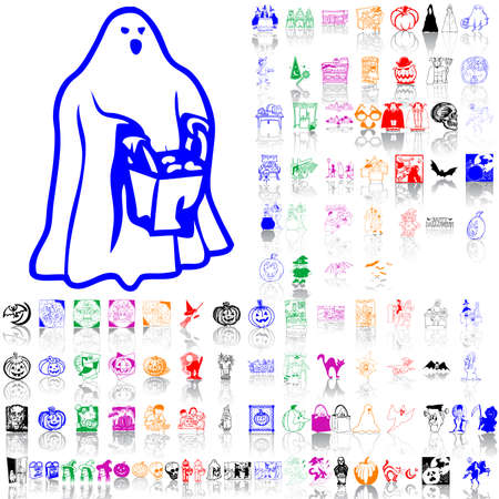 Set of Halloween sketches. Part 1. Isolated groups and layers. Global colors.   Vector