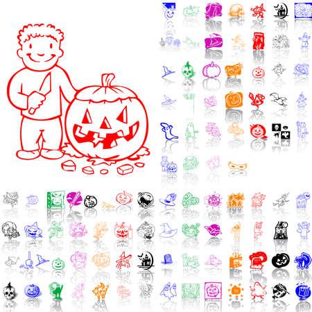 Ensemble de croquis Halloween. Partie 2. Groupes isolés et les couches. Global colors.