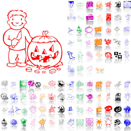 Set of Halloween sketches. Part 2. Isolated groups and layers. Global colors.   Vector