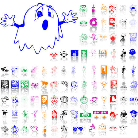 Set of Halloween sketches. Part 6. Isolated groups and layers. Global colors.   Vector