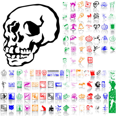 Set of Halloween sketches. Part 7. Isolated groups and layers. Global colors. Stock Vector - 5162094