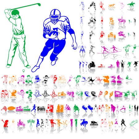 Set of sport sketches. Part 1. Isolated groups and layers. Global colors.   Vector