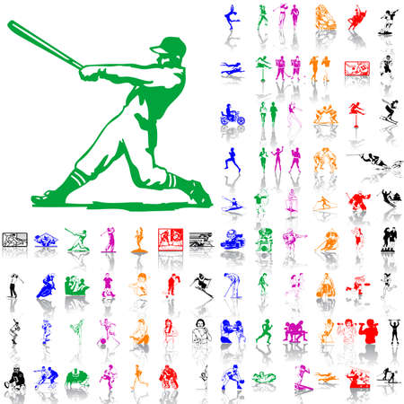 Set of sport sketches. Part 2. Isolated groups and layers. Global colors.   Vector