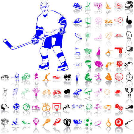 Set of sport sketches. Part 4. Isolated groups and layers. Global colors.   Vector
