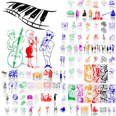 Set of music sketches. Part 1. Isolated groups and layers. Global colors.   Illustration