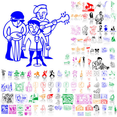 Set of music sketches. Part 2. Isolated groups and layers. Global colors.