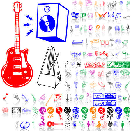 Set of music sketches. Part 10. Isolated groups and layers. Global colors.   Vector