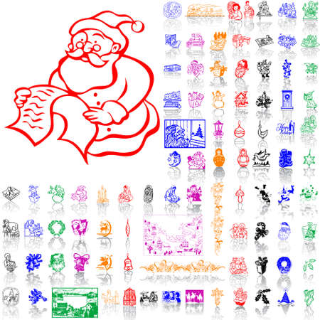 Set of Christmas sketches. Part 1. Isolated groups and layers. Global colors.   Vector