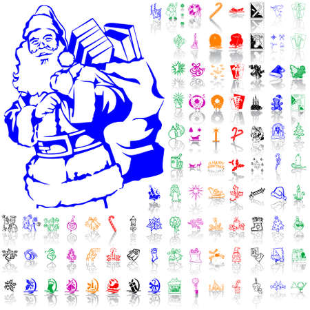 Set of Christmas sketches. Part 2. Isolated groups and layers. Global colors.   Stock Vector - 5184453