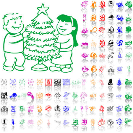 Set of Christmas sketches. Part 3. Isolated groups and layers. Global colors.   Vector