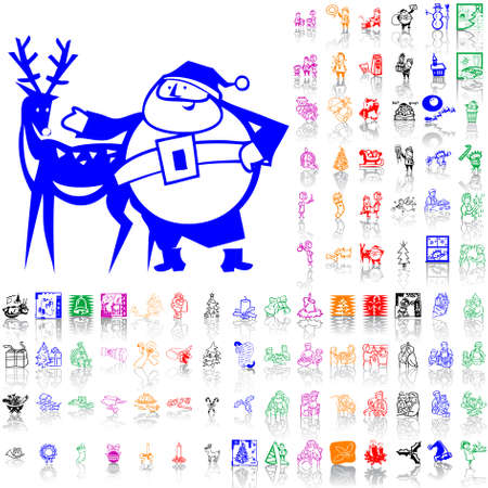 Set of Christmas sketches. Part 4. Isolated groups and layers. Global colors.   Vector