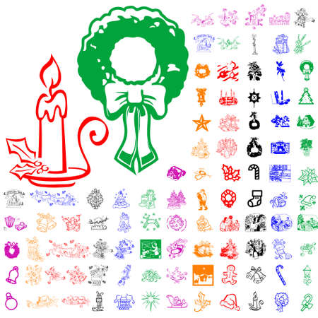 Set of Christmas sketches. Part 5. Isolated groups and layers. Global colors.   Vector