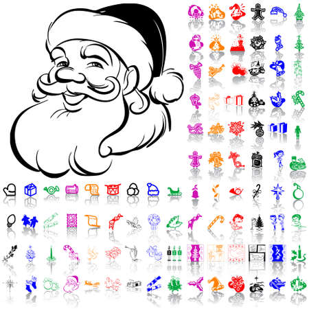 Set of Christmas sketches. Part 6. Isolated groups and layers. Global colors.   Vector