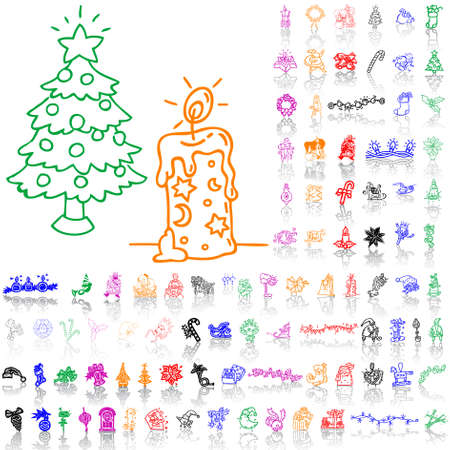 Set of Christmas sketches. Part 7. Isolated groups and layers. Global colors.   Vector