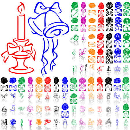 Set of Christmas sketches. Part 9. Isolated groups and layers. Global colors.   Vector