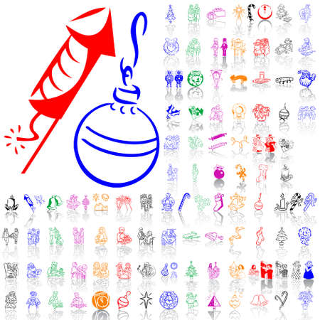 Set of Christmas sketches. Part 10. Isolated groups and layers. Global colors.   Vector