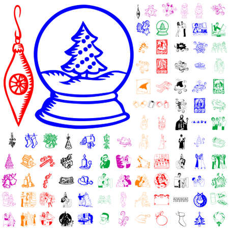Set of Christmas sketches. Part 11. Isolated groups and layers. Global colors.   Vector