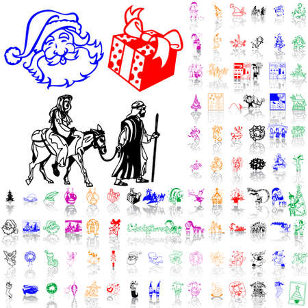 Set of Christmas sketches. Part 12. Isolated groups and layers. Global colors. Stock Vector - 5184469